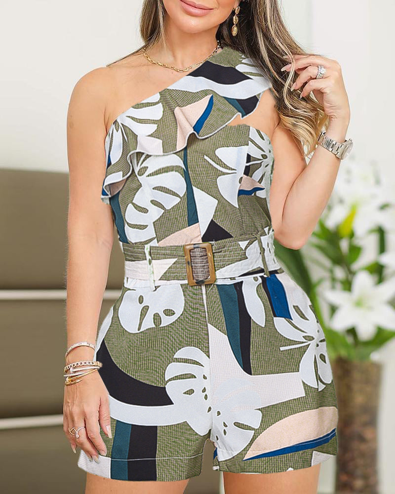 One Shoulder Ruffles Abstract Print Romper