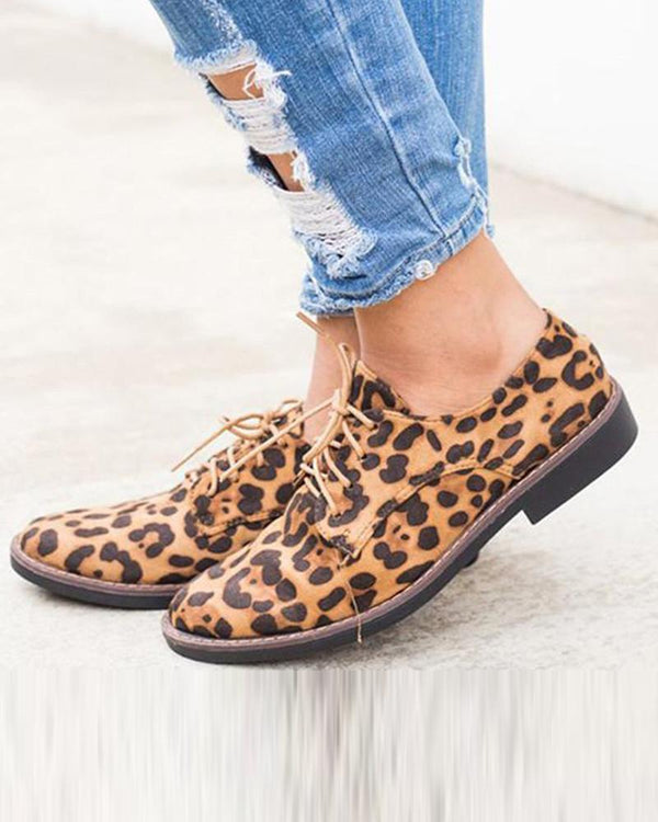 Leopard Print Lace-Up Sneaker