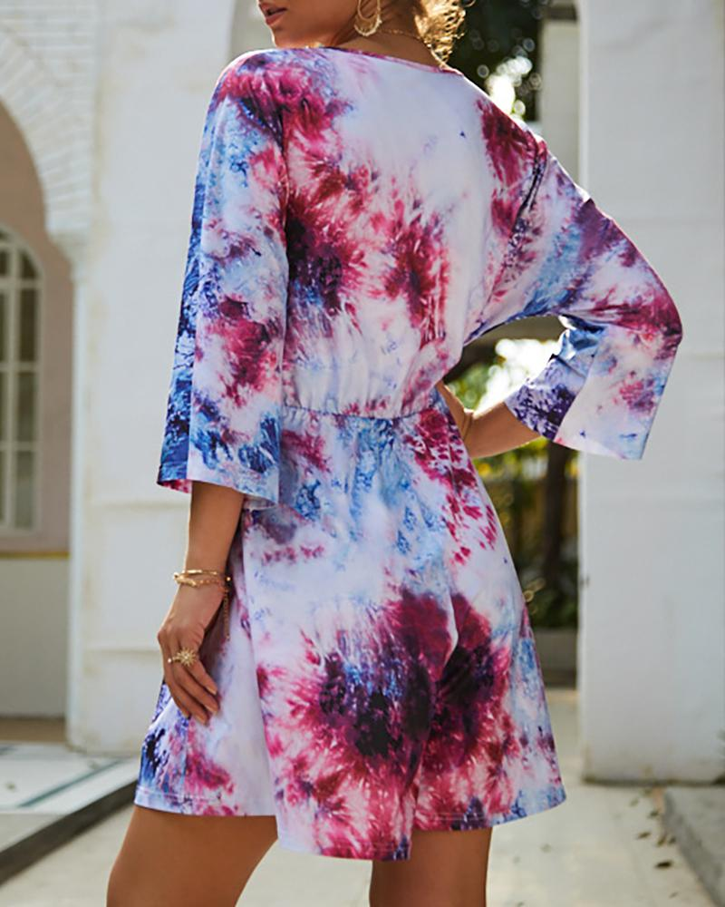 V-Neck Bell Long Sleeve Tie Dye Romper