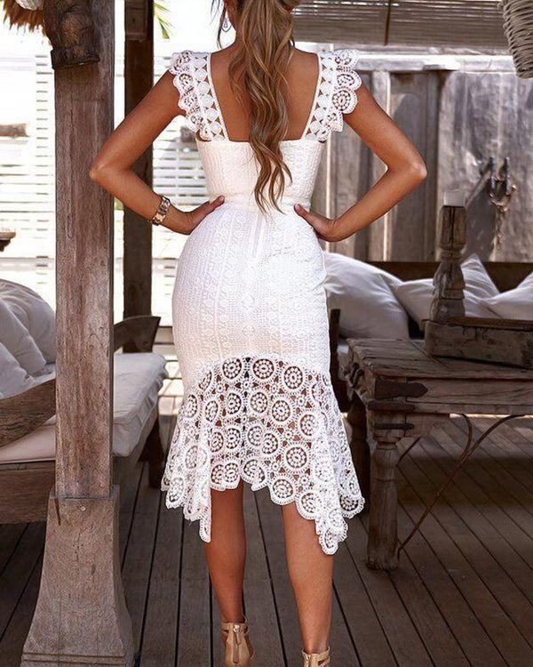 Crochet Trim Fishtail Dress
