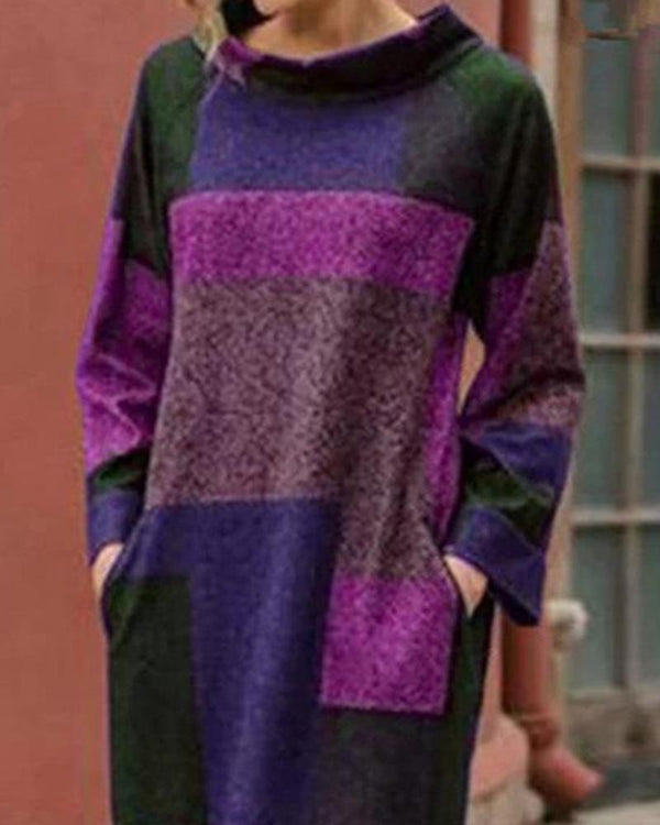 Colorblocks Pocketed Midi Sweater Dress