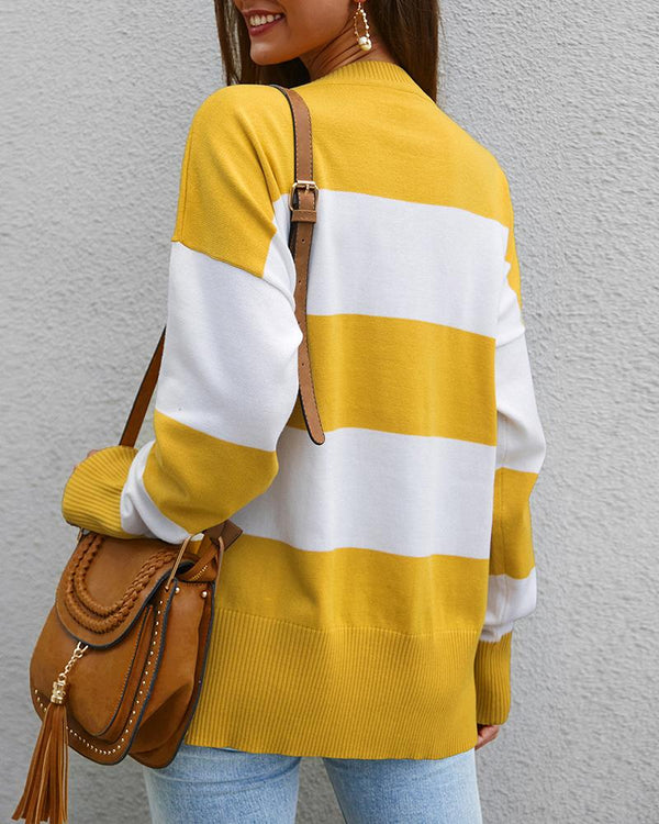 Striped Insert Casual Knitting Sweatshirt