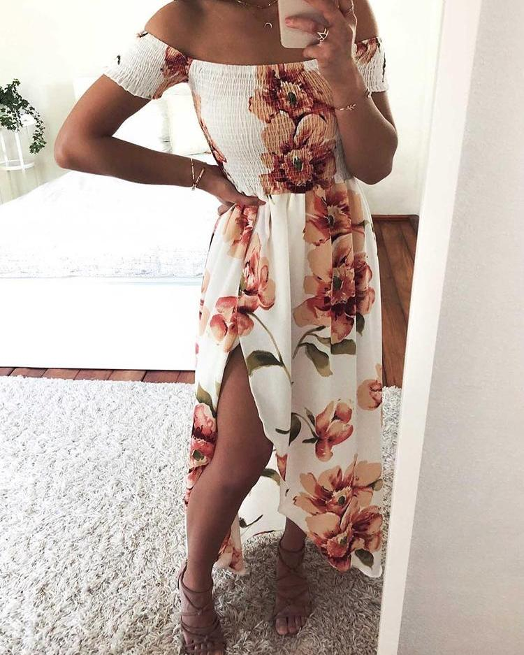 Floral Print Shirring Off Shoulder Slit Maxi Dress