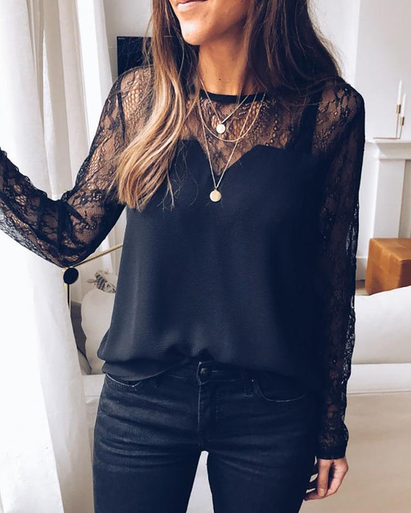 Sheer Lace Yoke Casual Blouse