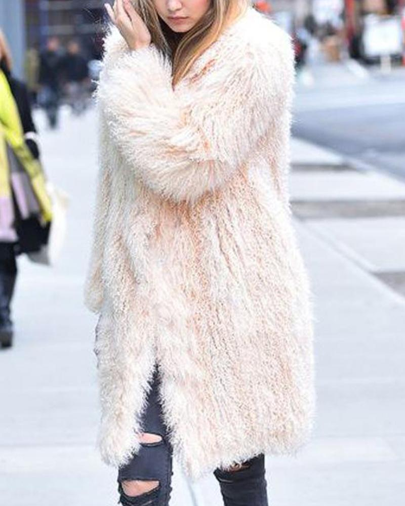 Shaggy Solid Faux Shearling Coat