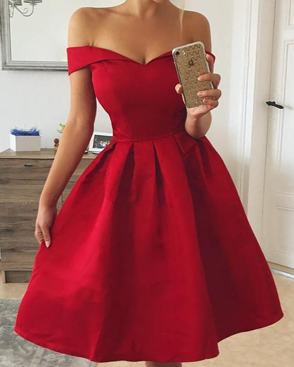 Sweetheart Neck Off Shoulder Pleated Party Dress