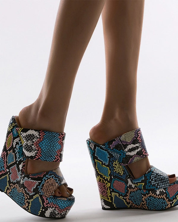 Round-toe Multicolor Snakeskin Print Double-straps Open-toe Wedge Sandals