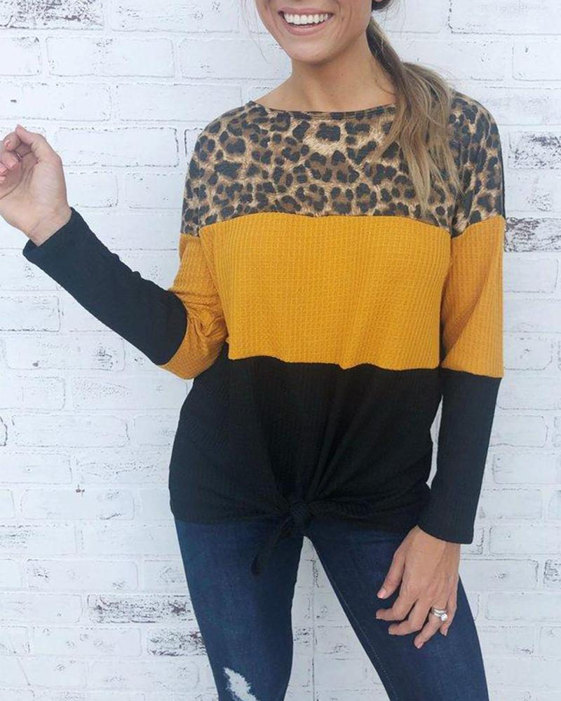 Boat Neck Leopard Colorblocks Sweater