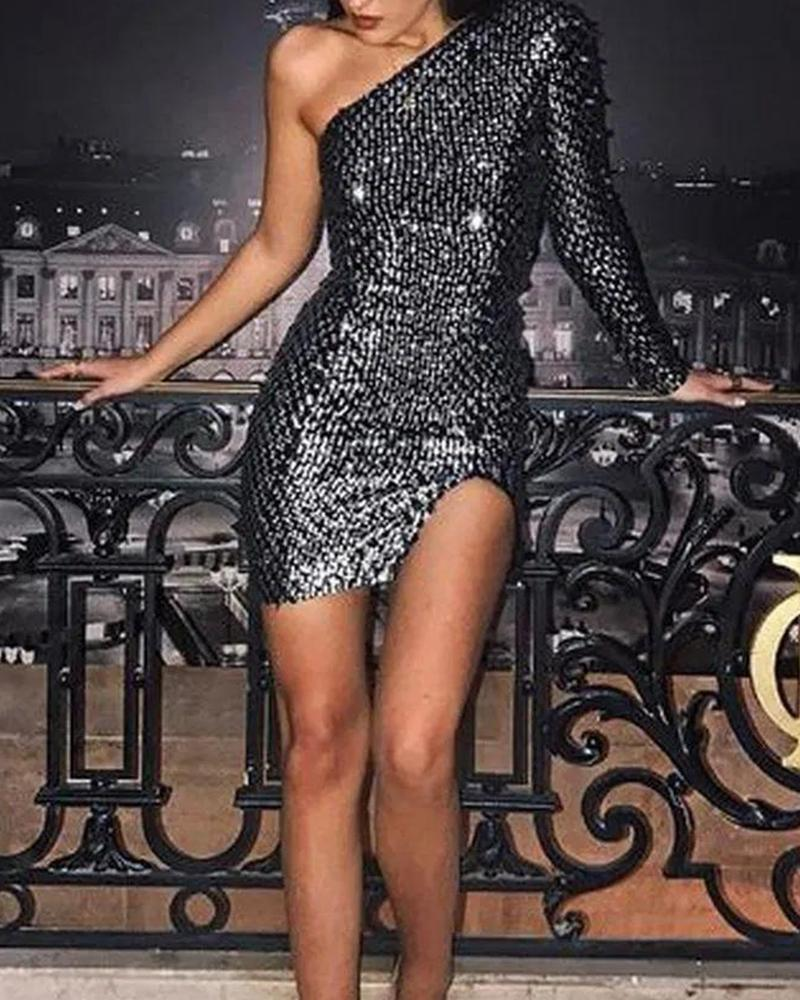 One Shoulder Sequined Bodycon Dress