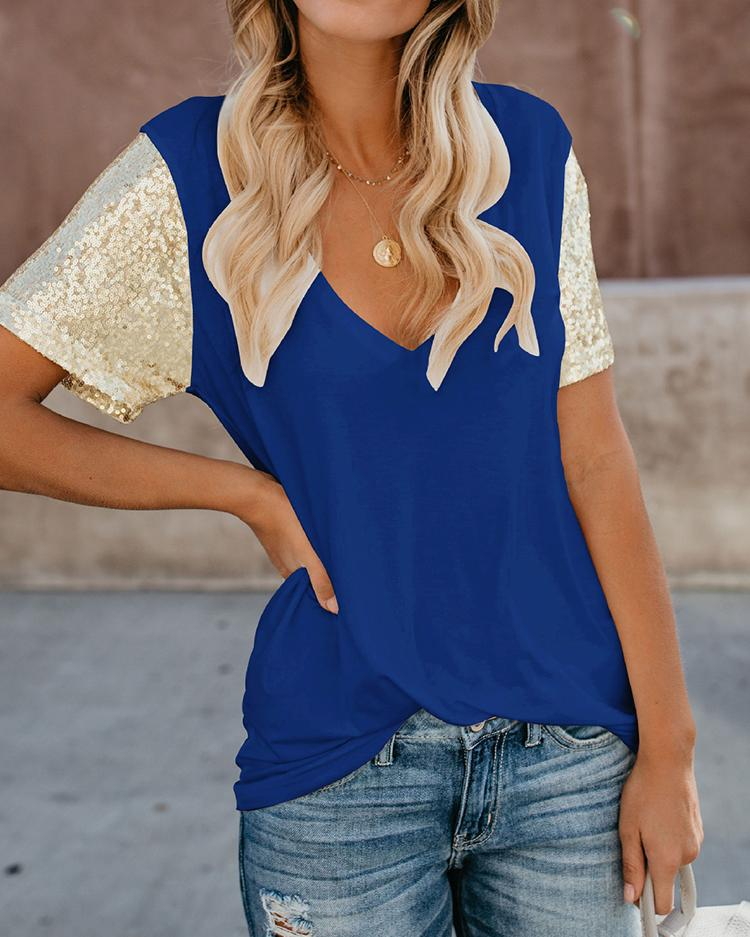 Short Sleeve Sequin Insert T-Shirt