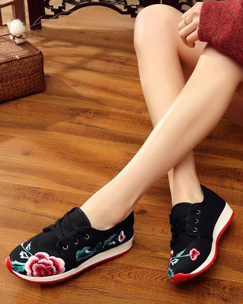 Embroidered Lace-Up Sneakers