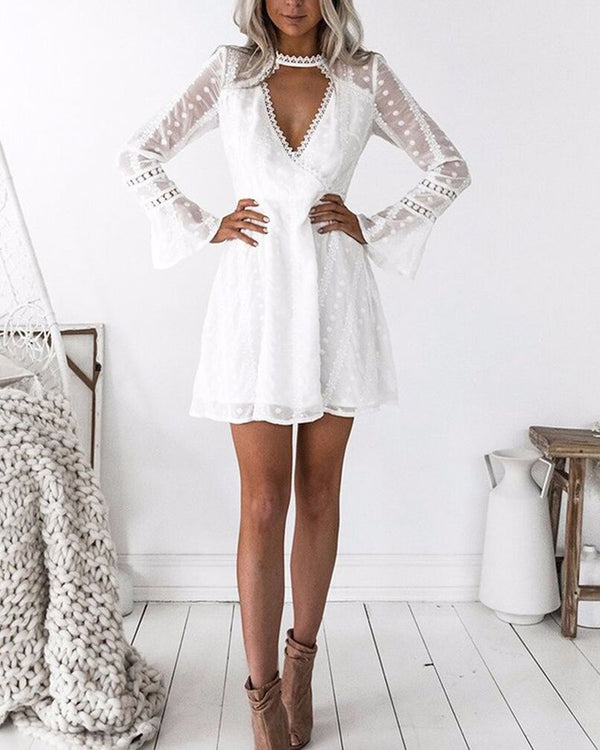 White Lace Cut Out Long Sleeve Mini dress