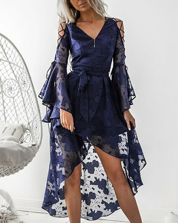 Lace Up Bell Sleeve High-low Hem Dress