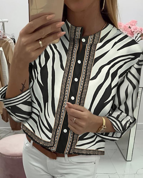 Zebra Print Button Long Sleeve Casual Blouse