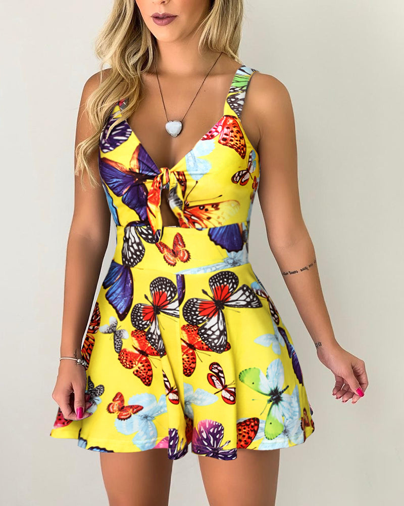 Tied Detail Butterfly Print Romper