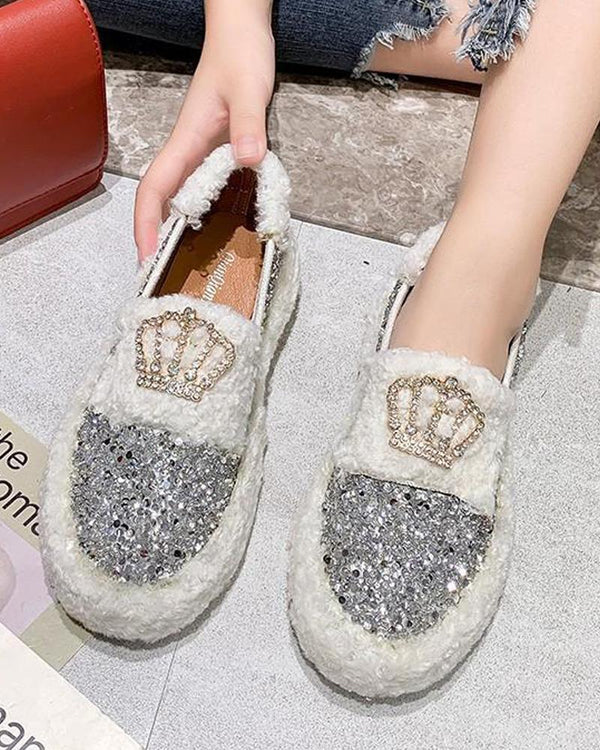 Faux Shearling Slip On Sequined Sneakers