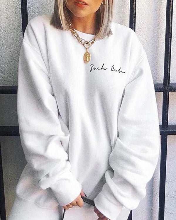 Such Cute Oversized Flocked Pullover