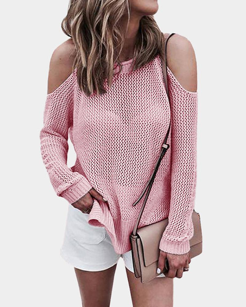 Cold Shoulder Loose Fit Sweater