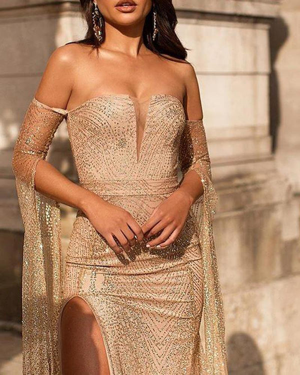 Low Cut Sequined Maxi Tube Dress