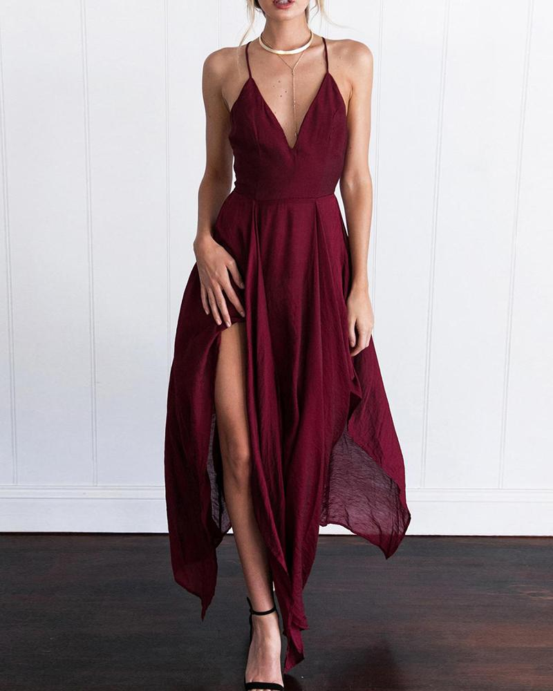 Deep V Spaghetti Strap Dress