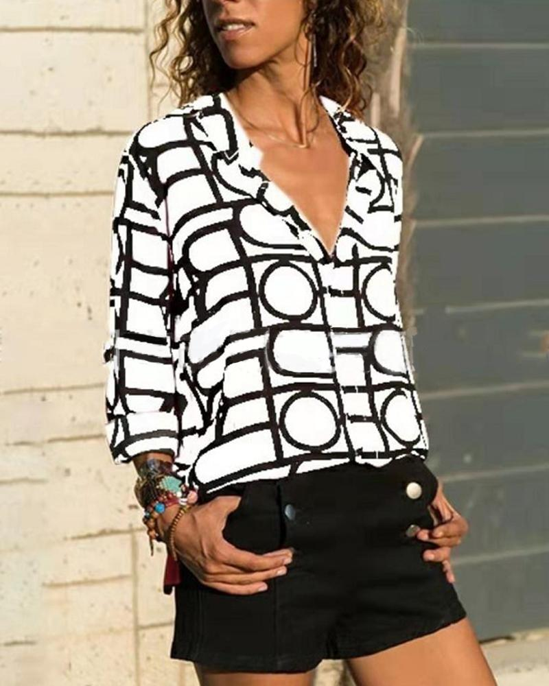 Casual Grid Blouse Top