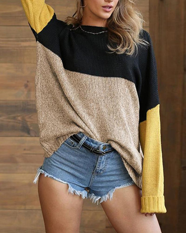 ColorBlock Mixed Knit Long Sleeve Regular sweater