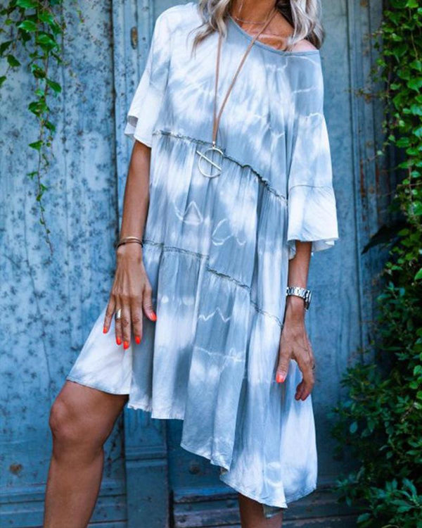 Tie Dye Bell Half Sleeve Ruffle Swing Midi Dress