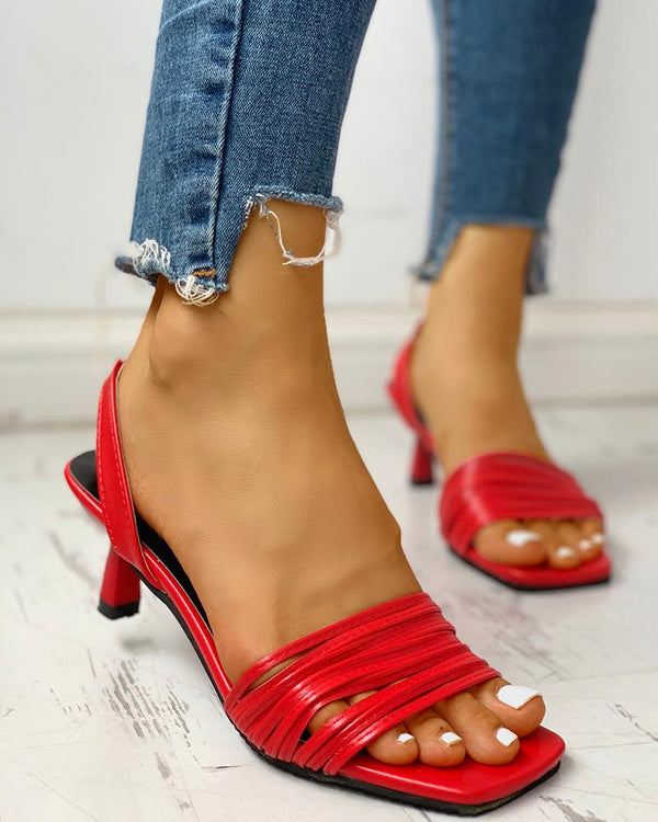 Solid Multi-strap Open Toe Thin Heeled Sandals