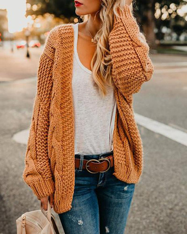 Twist Knit Open Front Cardigan