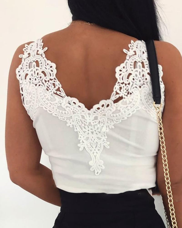 Crochet Lace Insert Casual  Top