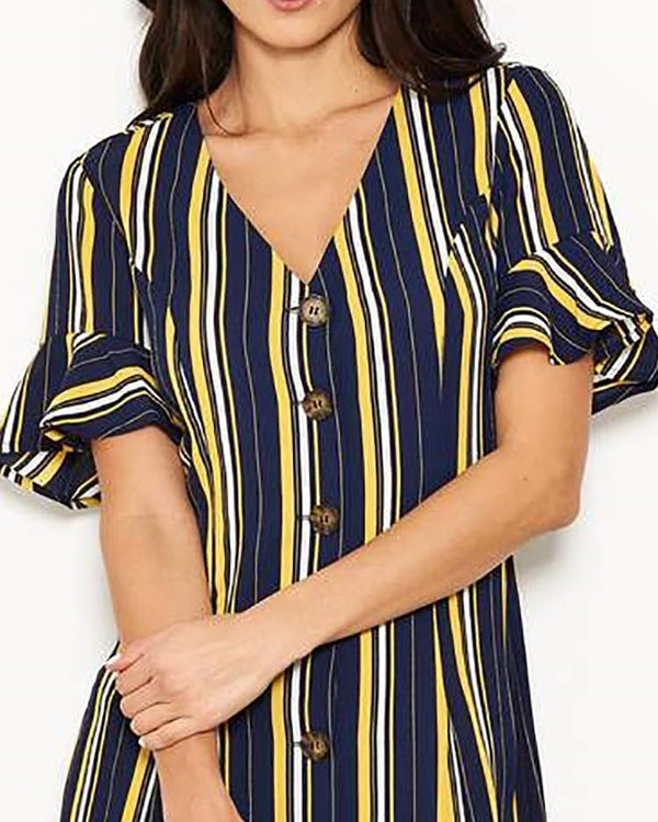 Striped Ruffels Cuff Buttoned Shirt Dress