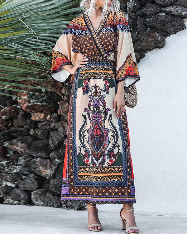V Neck Kimono Sleeve Boho Dress