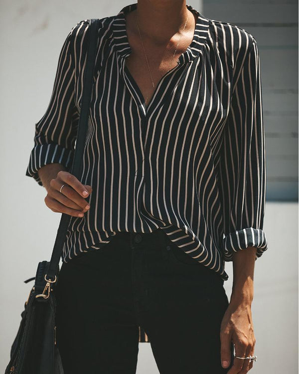 V-Neck Striped Long-Sleeved Blouse