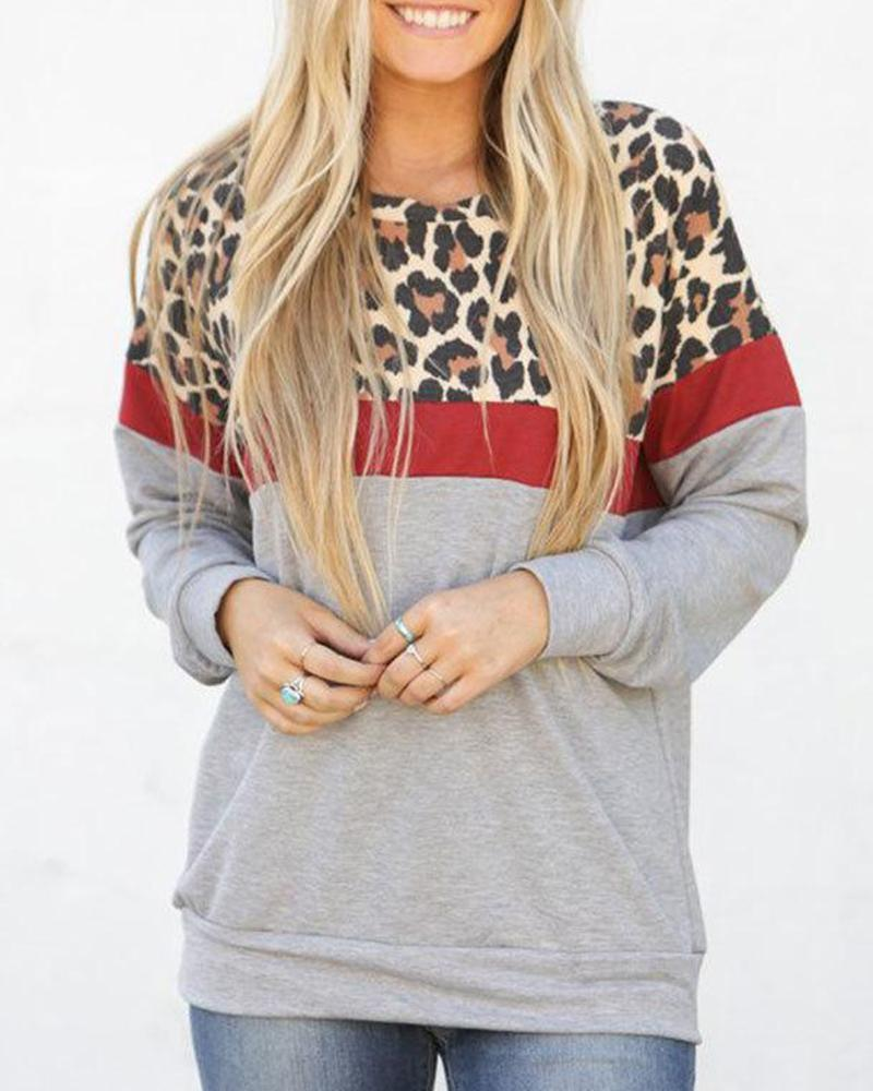 Camouflage Contrast Long Sleeve Top