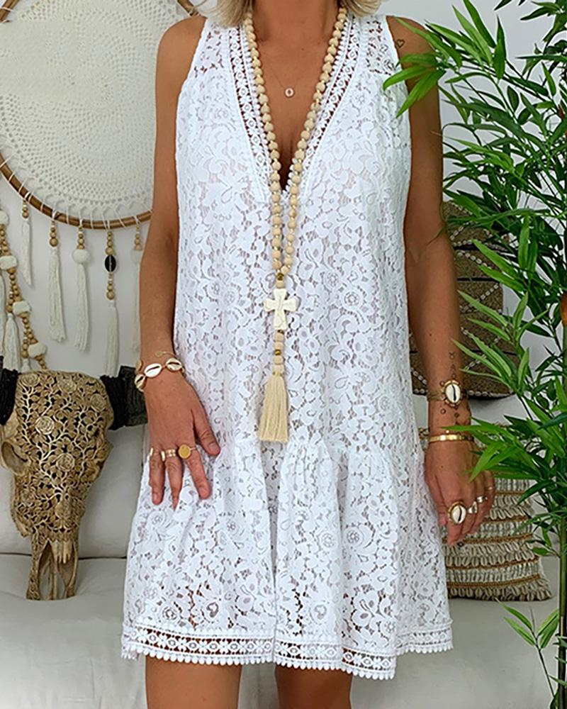 V Neck Sleeveless Loose Lace Dress