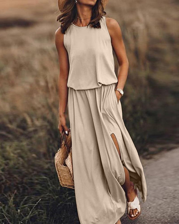 Round neck sleeveless split solid color Maxi dress