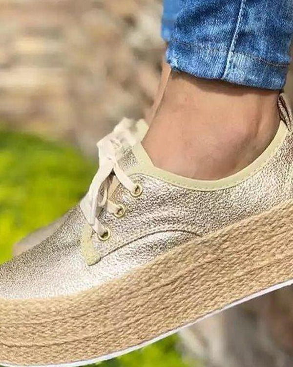 Solid Lace-Up Platform Sneaker