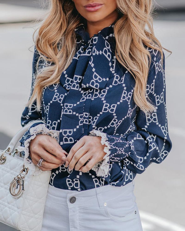 Print Lace Shirring Cuff Tied Neck Blouse