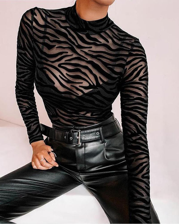 Mock Neck Long Sleeve Mesh Bodysuit