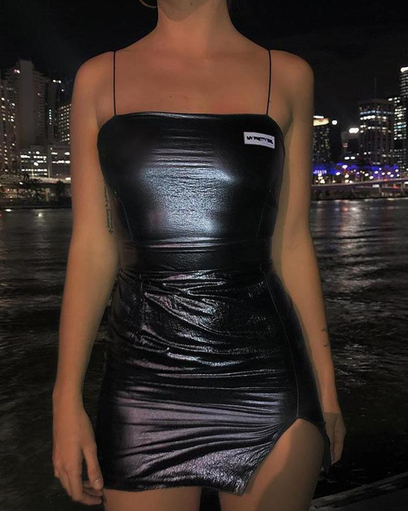Metallic Bodycon Strappy Mini Dress