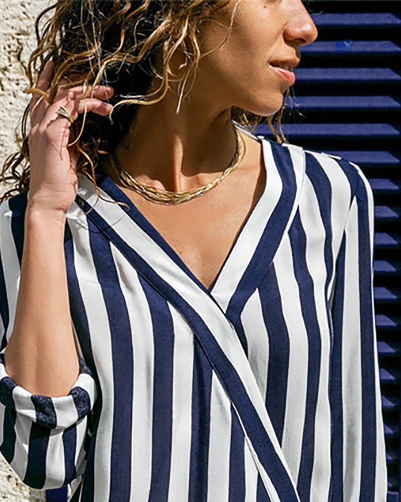 V Neck Long Sleeve Striped Blouse