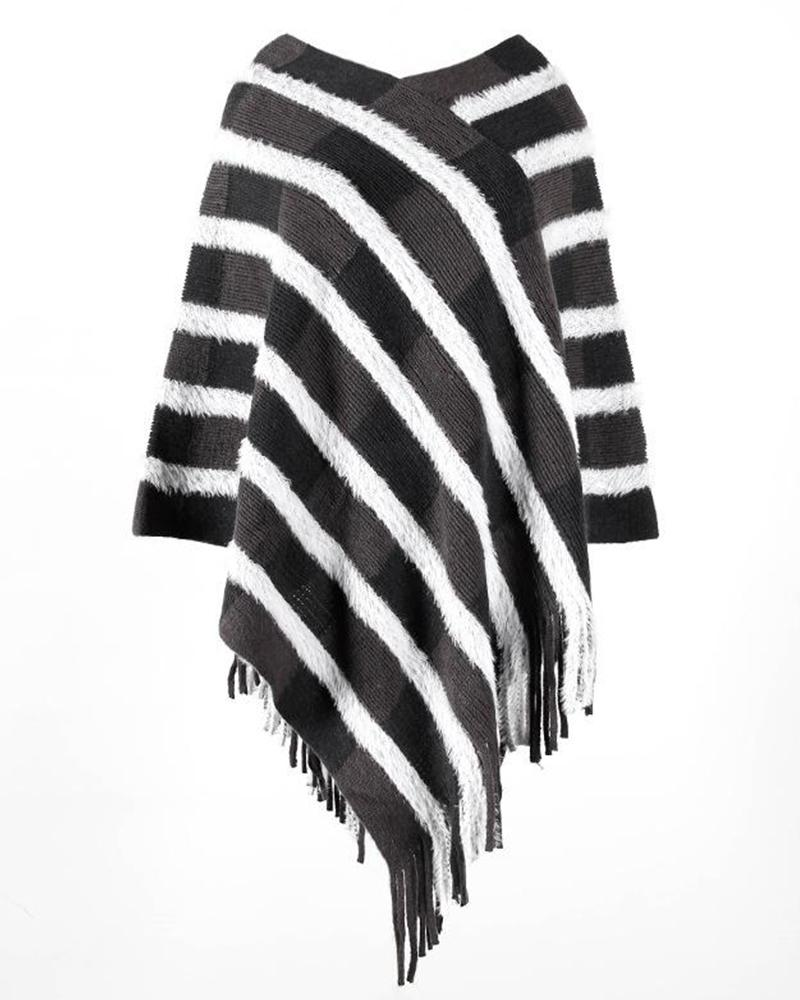 V Neck Striped Knitted Cape Top