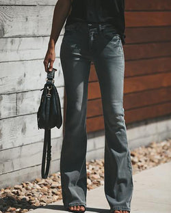 Solid Denim Flared Leg Pocket Oversized Pants