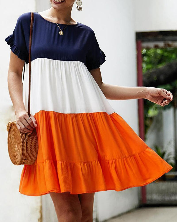 Color Block Boat Neck Ruffle Swing Dress