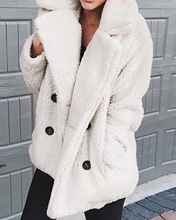 Solid Fluffy Double-Breasted Pocket Design Coat