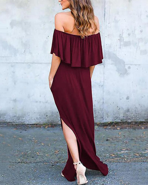Solid Off Shoulder Maxi Dress