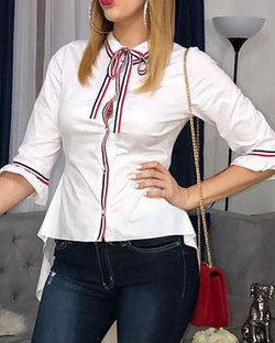 Contrast Striped Tape Dip Hem Blouse