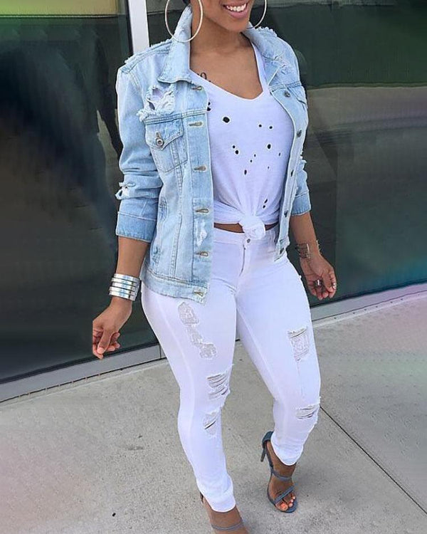 Oversize Ripped Boyfriend Style Denim Coat