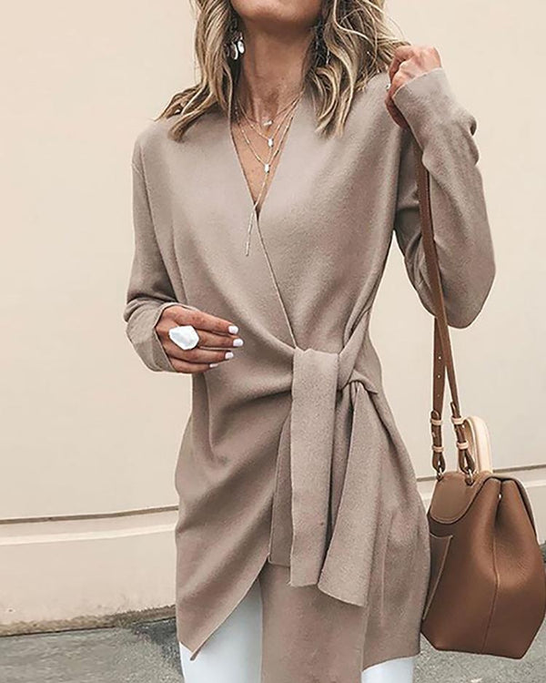 Solid Wrapped Self-Belted Long Sleeve Coat