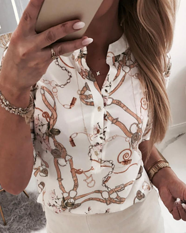 V-Neck Print Half Sleeve Blouse